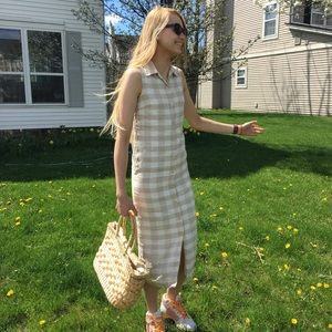 talbots petites gingham button-down dress